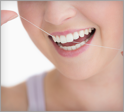 girl flossing image